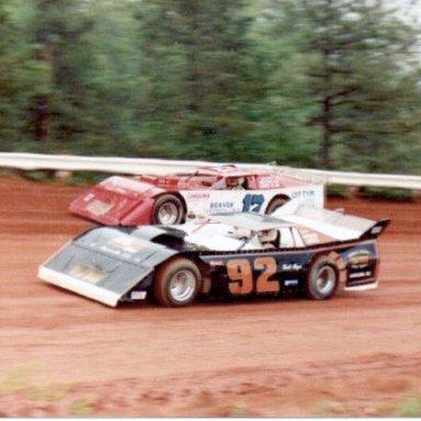 David Moyer (92) Passes Billy Scott (17) at Cherokee 1990's