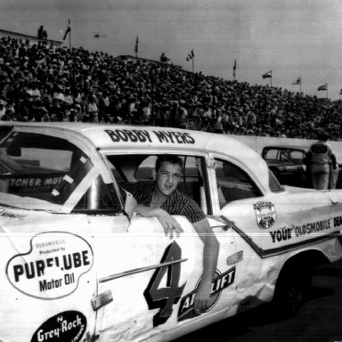 Bobby Myers Before Final Race - Darlington, SC, 1957 - Petty Olds