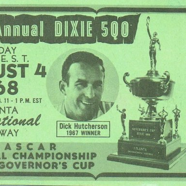 1968 Dixie 500 Race Ticket Featuring Dick Hutcherson