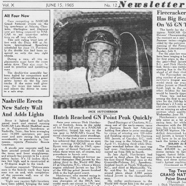 Dick Hutcherson on The Cover of NASCAR Newsletter