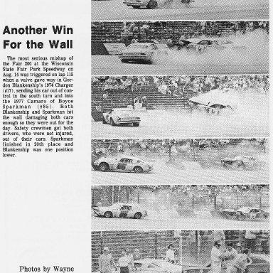 Gordy Blankenship Crash at Milwaukee Mile 1977