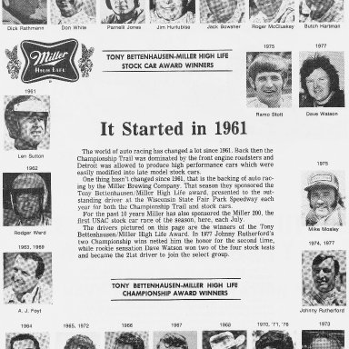 1978 Miller High Life Race Program Winner's List