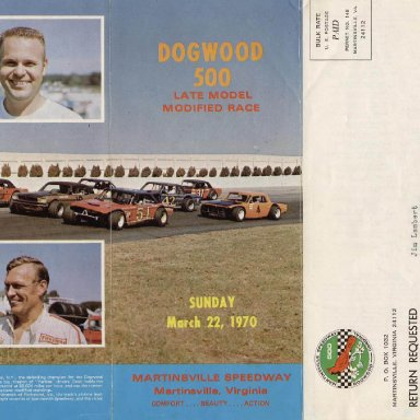 Martinsville Dogwood 500 brochure 1970