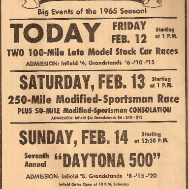 1965 Daytona newspaper ad