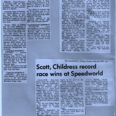 Billy Scott Collects GASCAR'S Speedworld Victory 1970S'