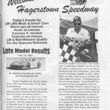 LM Results @ Hagerstown (MD) Speedway Feb 23rd 1997