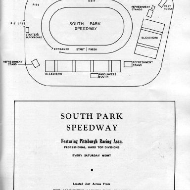 Track Lay-Out of South Park (PA) Speedway 1957