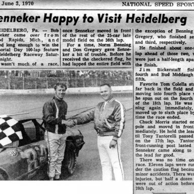 1970 Heidelberg LM Results NSSN May 30th