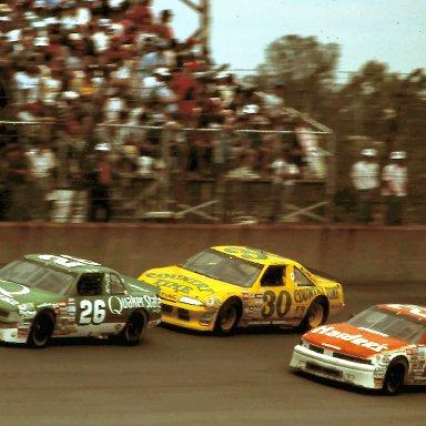 #26 Ricky Rudd #30 Michael Waltrip #29 Cale Yarborough 1988 Miller High Lfe 400 @ Michigan