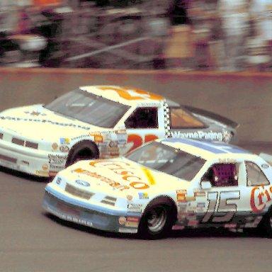 #15 Brett Bodine #23 Eddie Bierschwale 1988 Miller High Life 400 @ Michigan