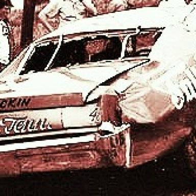 DARRELL WALTRIP FLIPPING OFF TURN TURN TWO AT THE FAIRGROUNDS,,A BRAND NEW FALL CITY SPECIAL CHEVELLE,TOO