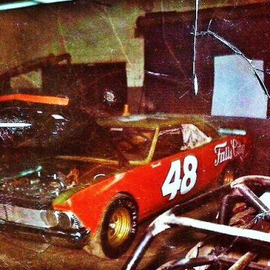 Darrel Waltrip's car being prepared to run the Permatex 300 in Daytona in Feb of 1973!.The only small block at Daytona this year!