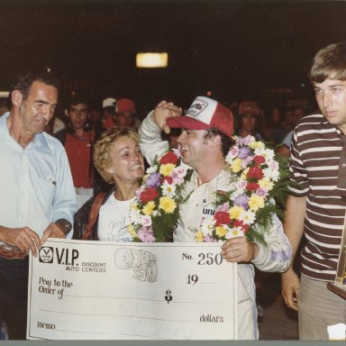 Dick Barhe, Kathy Bodine and Geoff in Victory Lane after winning in Zervakis #99