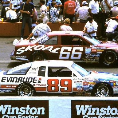 #66 Phil Parsons #89 Jim Sauter 1986 Miller American 400 @ Michigan