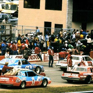 #3 Ricky Rudd #67 Buddy Arrington #44 Terry Labonte #1 Kyle Petty 1982 Champion Spark Plug 400 @ Michigan