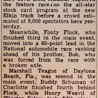 Elkin-Jonesville Speedway -  August 31, 1947 Results