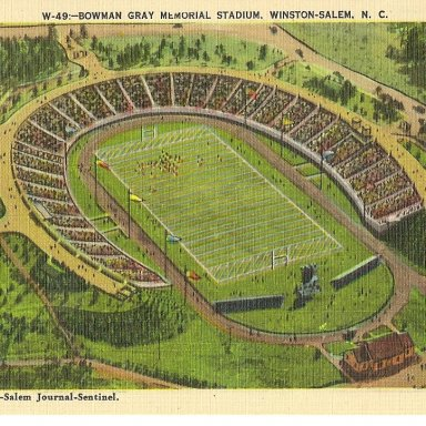 BOWMAN GRAY STADIUM POSTCARD    Just found today4-30-11 at Liberty antique festival- year unknown