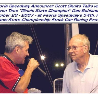 Peoria Speedway Announcer Scott Shults / 1990 to 2011
