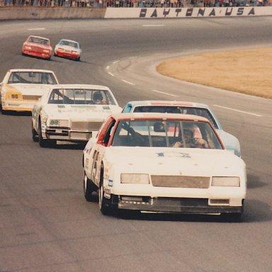 Neil Bonnett leads the pack at Daytona