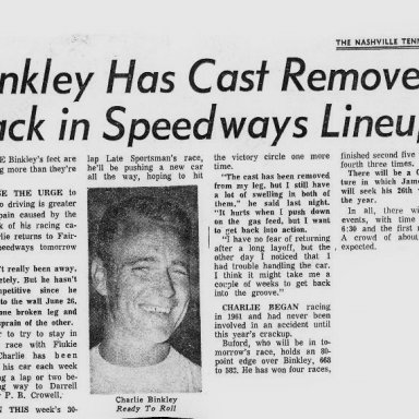 1971 newspaper article on Charlie Binkley~
