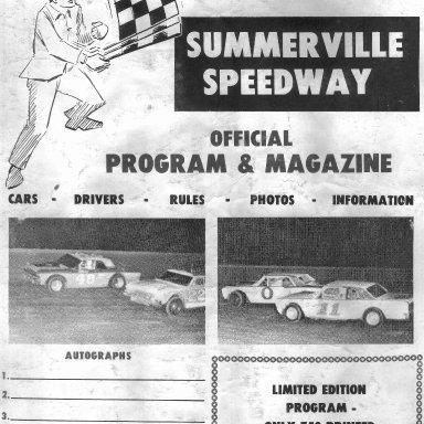 Summerville SC Speedway 1974 Program