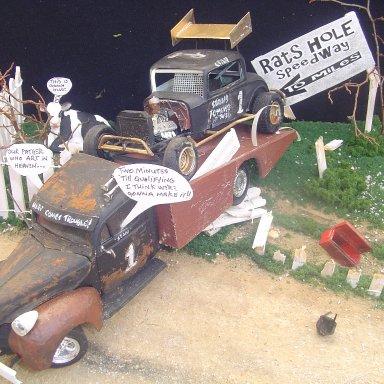 """dirt trackin to the dirt track""Tim Bruner diorama"