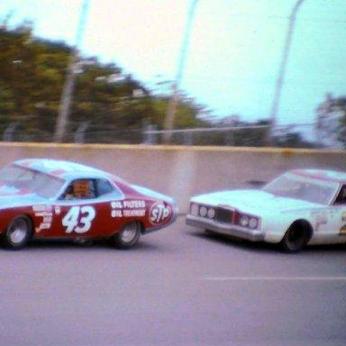 #43  Richard Petty  #21 David Pearson   1974 Motor State 400 @ Michigan