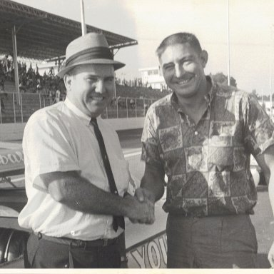 My dad and Fireball Roberts at Martinsville, April 1964