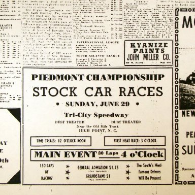 Big Racing Weekend 1947 - Mount Airy / Tri-City / Peace Haven Speedways