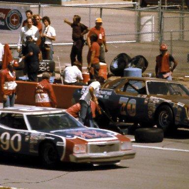 #90 Richard Brooks #70 J D McDuffie 1977 Champion Spark Plug 400 @ Michigan