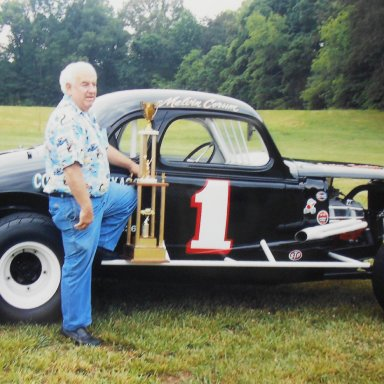 Melvin Corum with Tazewell Speedway track champion trophy