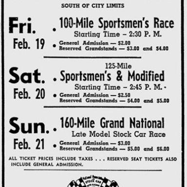 1954 Daytona Newspaper Ad
