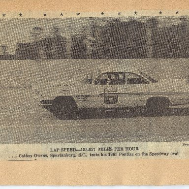Cotton Owens qualifying for the 1961 Daytona 500