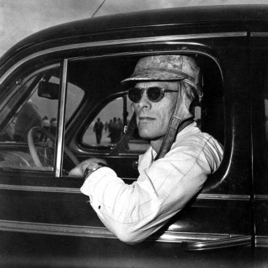 Red Byron in his personal car. (1946-48 Ford Sedan)
