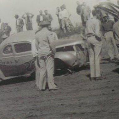Red Byron wreck at Habersham Speedway - 1947