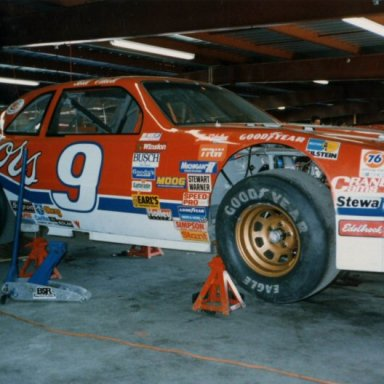 Bill Elliott's car in garage - 1988