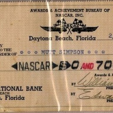 1953 Point Fund Check