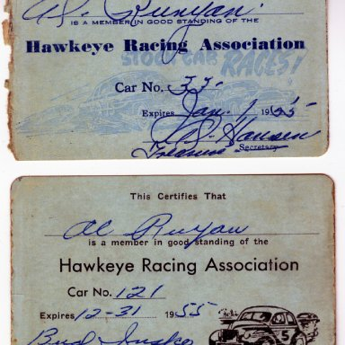 Membership cards--Hawkeye Racing Association