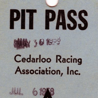 Pit Pass Tunis Speedway, July 6, 1958