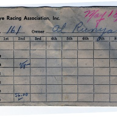 Hawkeye Racing Association payout envelope, May 18, 1951