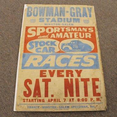 stock car poster Bowman Gray