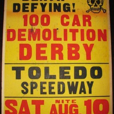 stock car poster demo derby Toledo speedway