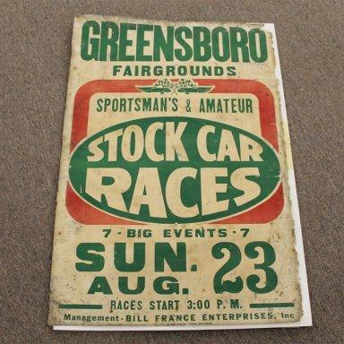 Stock car poster Greensboro Fairgrounds, NC