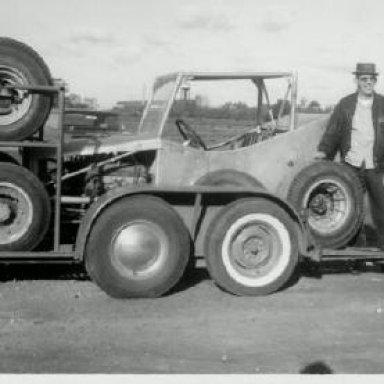Mort beside his car at Sandusky 1965