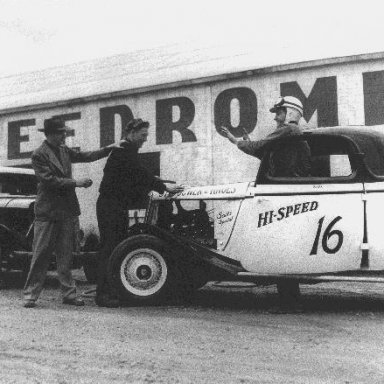 Marv Eppink at the Speedrome in A.J. Steahower's car