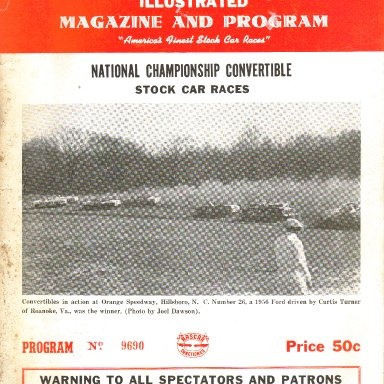 1956 Nascar Convertible Series Program for Greensboro, NC Fairgrounds