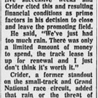 Curtis Crider promoter Cooper River SC 68