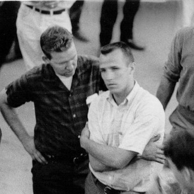 Woody Corbett, Slick Gibbons and Bobby Wilson attend drivers meeting at Sumter Speedway in the '60's.