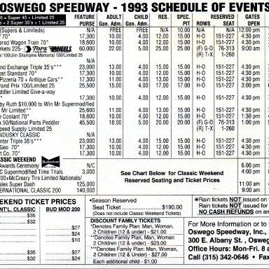 1993 Oswego Schedule
