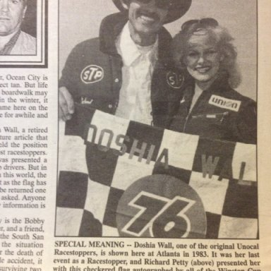 Richard Petty and Doshia; Richard Petty presented me this flag in 1983